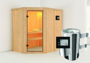 Karibu System Sauna 230 Volt Saja (Eckeinstieg) 68 mm inkl. Ofen 3,6 kW ext. Steuerung
