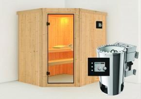 Karibu System Sauna 230 Volt Lilja (Eckeinstieg) 68 mm inkl. Ofen 3,6 kW Bio-Kombi ext. Steuerung