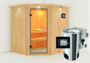 Karibu System Sauna 230 Volt Lilja (Eckeinstieg) 68 mm mit Dachkranz inkl. Ofen 3,6 kW Bio-Kombi ext. Steuerung