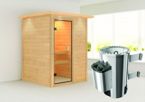 Karibu Massiv Sauna 230 Volt Nadja (Fronteinstieg) 38 mm mit Dachkranz inkl. Ofen 3,6 kW integr. Steuerung