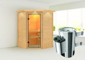 Karibu Massiv Sauna 230 Volt Alicja (Eckeinstieg) 38 mm mit Dachkranz inkl. Ofen 3,6 kW integr. Steuerung