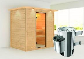 Karibu Massiv Sauna 230 Volt Ronja (Fronteinstieg) 38 mm mit Dachkranz inkl. Ofen 3,6 kW integr. Steuerung