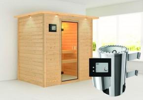 Karibu Massiv Sauna 230 Volt Ronja (Fronteinstieg) 38 mm mit Dachkranz inkl. Ofen 3,6 kW ext. Steuerung