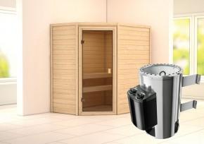 Karibu Massiv Sauna 230 Volt Cilja (Eckeinstieg) 38 mm inkl. Ofen 3,6 kW integr. Steuerung