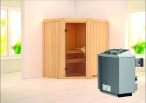 Karibu System Sauna Taurin (Eckeinstieg) 68 mm inkl. Ofen 9 kW integr. Steuerung