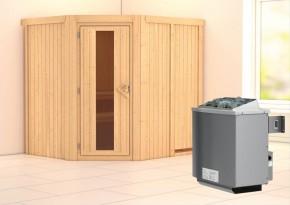 Karibu System Sauna Siirin Energiespartür (Eckeinstieg) 68 mm inkl. Ofen 9 kW integr. Steuerung
