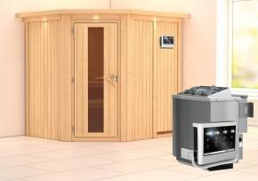 Karibu System Sauna Siirin Energiespartür (Eckeinstieg) 68 mm mit Dachkranz mit Saunatür Holz inkl. Ofen 9 kW Bio-Kombi ext. Steuerung