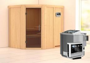 Karibu System Sauna Siirin easy (Eckeinstieg) 68 mm inkl. Ofen 9 kW Bio-Kombi ext. Steuerung