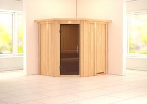 Karibu System Sauna Siirin easy (Eckeinstieg) 68 mm mit Dachkranz mit Glastürinkl. Ofen 9 kW ext. Steuerung
