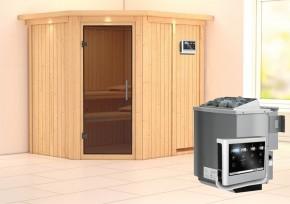 Karibu System Sauna Siirin easy (Eckeinstieg) 68 mm mit Dachkranz mit Glastür inkl. Ofen 9 kW Bio-Kombi ext. Steuerung