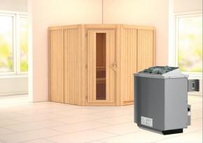 Karibu System Sauna Jarin Energiespartür (Eckeinstieg) 68 mm inkl. Ofen 9 kW mit integr. Steuerung