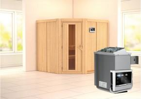 Karibu System Sauna Jarin Energiespartür (Eckeinstieg) 68 mm inkl. Ofen 9 kW ext. Steuerung