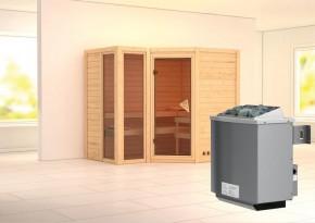 Karibu Massiv Sauna Amara (Eckeinstieg) 40 mm inkl. Ofen 9 kW mit integr. Steuerung