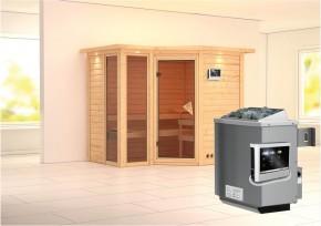 Karibu Massiv Sauna Amara (Eckeinstieg) 40 mm mit Dachkranz inkl. Ofen 9 kW ext. Steuerung