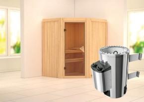 Karibu System Sauna 230 Volt Tonja (Eckeinstieg) 68 mm inkl. Ofen 3,6 kW integr. Steuerung