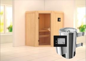 Karibu System Sauna 230 Volt Tonja (Eckeinstieg) 68 mm inkl. Ofen 3,6 kW ext. Steuerung
