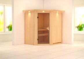 Karibu System Sauna 230 Volt Tonja (Eckeinstieg) 68 mm mit Dachkranz  ohne Zubehör