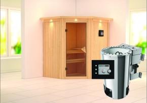 Karibu System Sauna 230 Volt Tonja (Eckeinstieg) 68 mm mit Dachkranz inkl. Ofen 3,6 kW Bio-Kombi ext. Steuerung